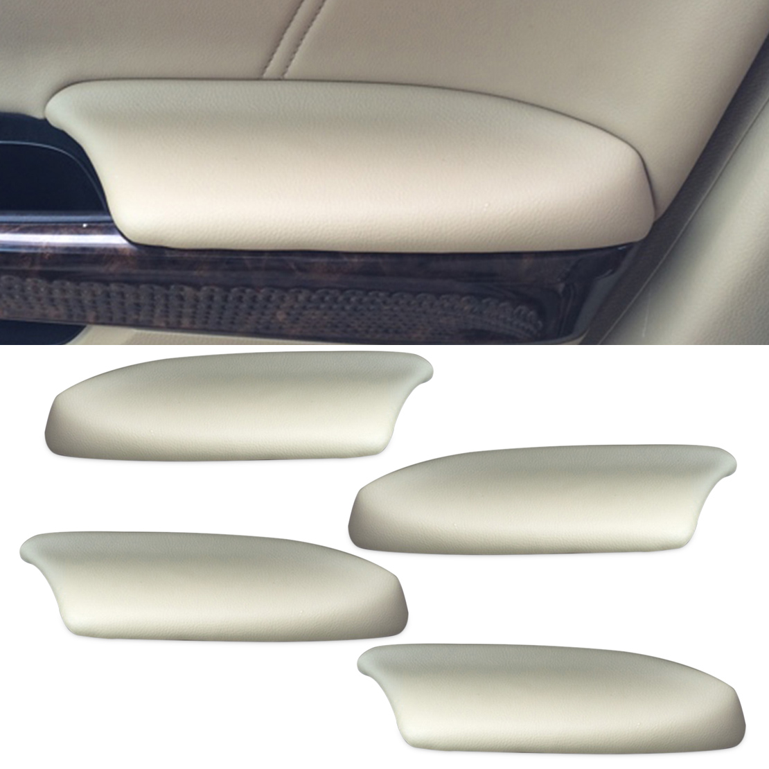 DWCX 4pcs Beige Leather Front & Rear Door Panels Armrest Skin Covers for Honda Accord 2008 2009 2010 2011 2012 only for Sedan