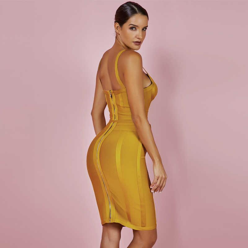 鹿の女性 2019 包帯ドレス新着夏黄色ボディコンドレス V ネックスパゲッティストラップ秋包帯ドレスパーティー女性