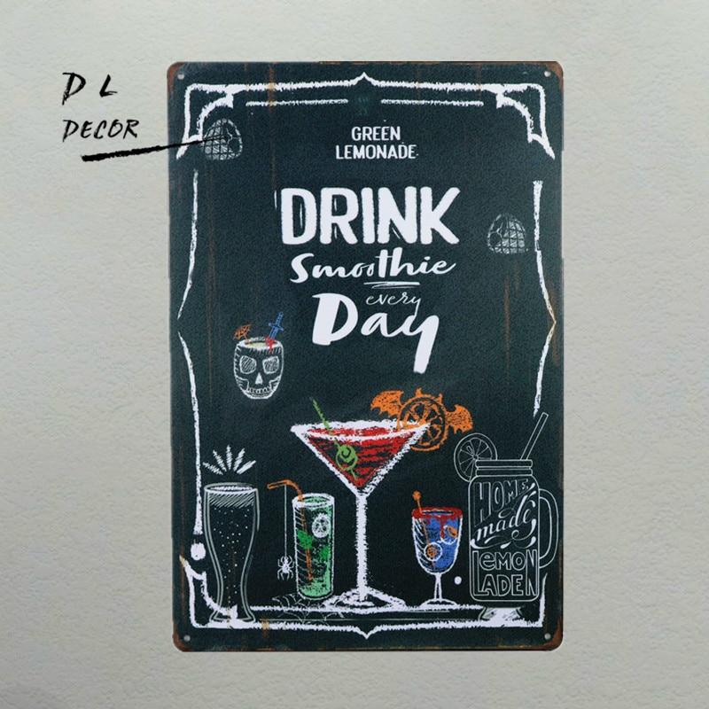 DL- 음료 칵테일 매일 복고풍 빈티지 장식 금속 주석 - 집안에서의 조직 및 보관