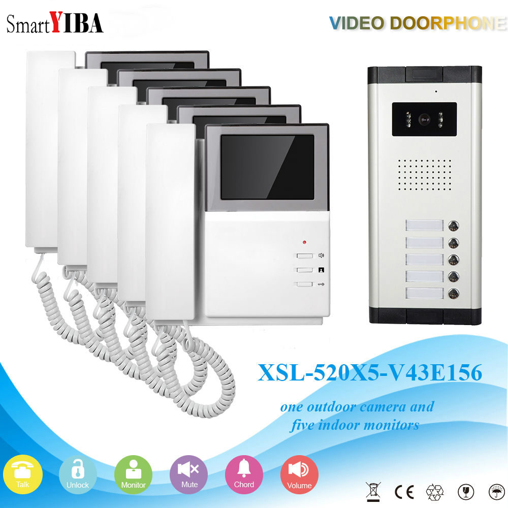 SmartYIBA 4.3 HD LED Grand Screen Apartment Video Door Telephone Doorbell Interphone System Night Vision Waterphoofing 5 Sits