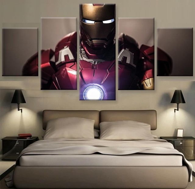 5 Panels Poster Canvas Painting Wall Art Prints Home Decor Movie Iron man Star Picture For Linving Frame Bedroom Wall Modern