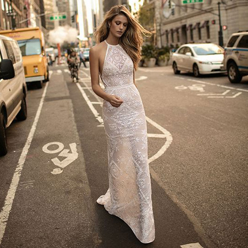 white Mermaid evening gown Long fashion backless Lace Formal dress sexy elegant party dresses