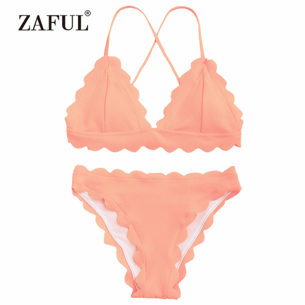 ZAFUL Women Swimsuit Scalloped Criss-cross Bikini Set Padded Spaghetti Straps Women's Swimwear Sexy Solid Beach Swimming Suit цены онлайн