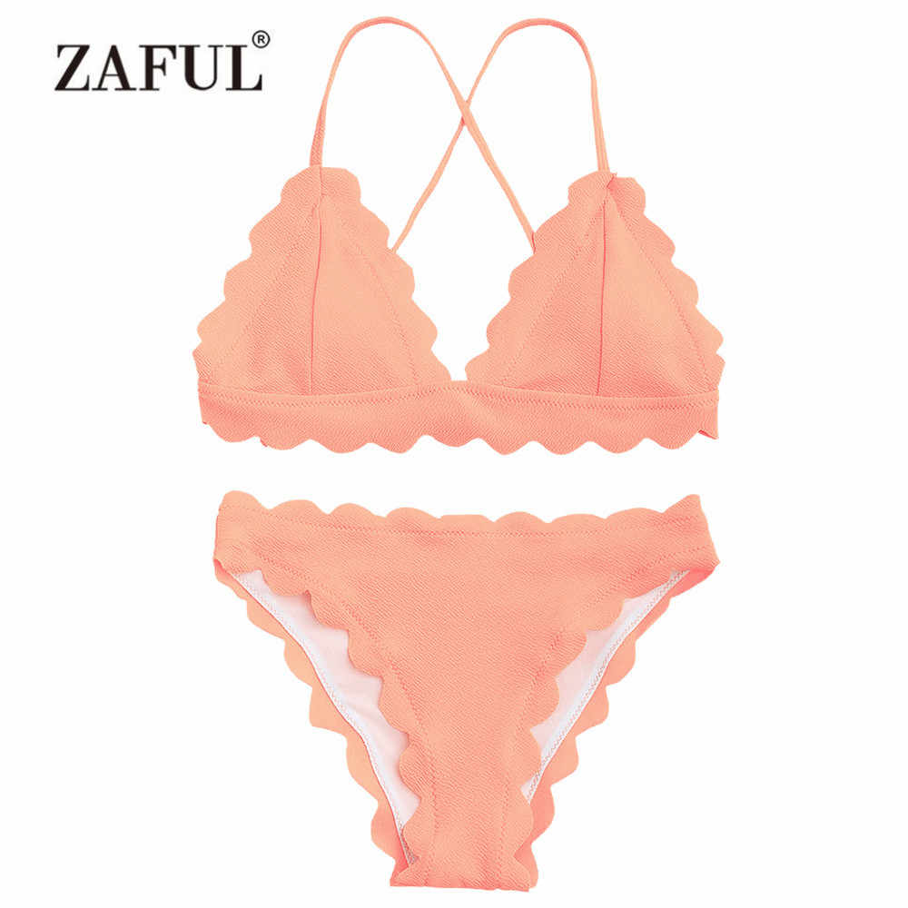 e987405bed ZAFUL Women Swimsuit Scalloped Criss-cross Bikini Set Padded Spaghetti  Straps Women's Swimwear Sexy Solid