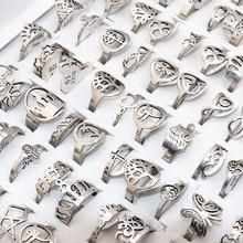 50 teile/los Mix Gelegentliche Stil Laser Cut Muster Edelstahl Ringe Frauen Party Ring