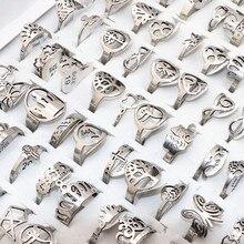 50 יח\חבילה לערבב אקראי סגנון לייזר לחתוך דפוס נירוסטה טבעות נשים המפלגה טבעת