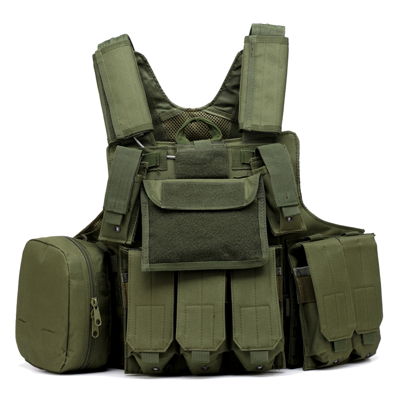 Army Green/Black/ACU Airsoft Paintball Hunting Vest Molle CIRAS Tactical Vest W/Magazine Pouch Utility Bag Armor Carrier Vest military molle admin front vest ammo storage pouch magazine utility belt waist bag for hunting shooting paintball cf game
