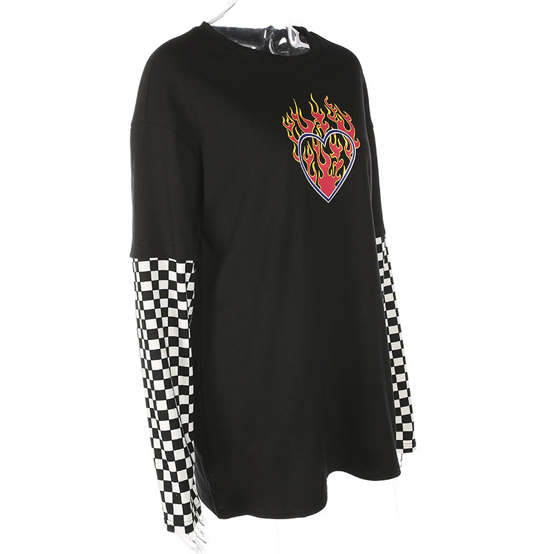 Women Plaid Patchwork Long Sleeve Flaming Heart Print Sweatshirt Spring Black Checkboard Pullover Hoodies