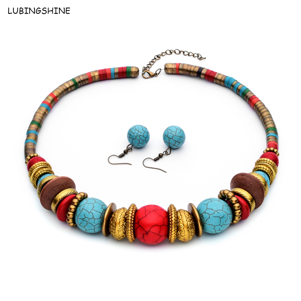 New Fashion Snake Chain Jewelry Set Tibetan Alloy Pendant Necklace&Earrings Women Stone Necklace Choker Collar Femme T123