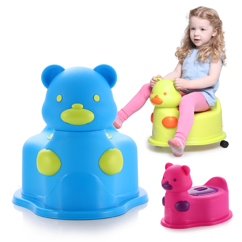 2018 Hot Sale Animal Design Baby Potty Chair With Wheels Bear Kids Children Potty Training
