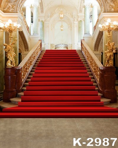 Carpet Castle Decor: 1.5X2M Photography Backdrop Red Blanket Stair Feature