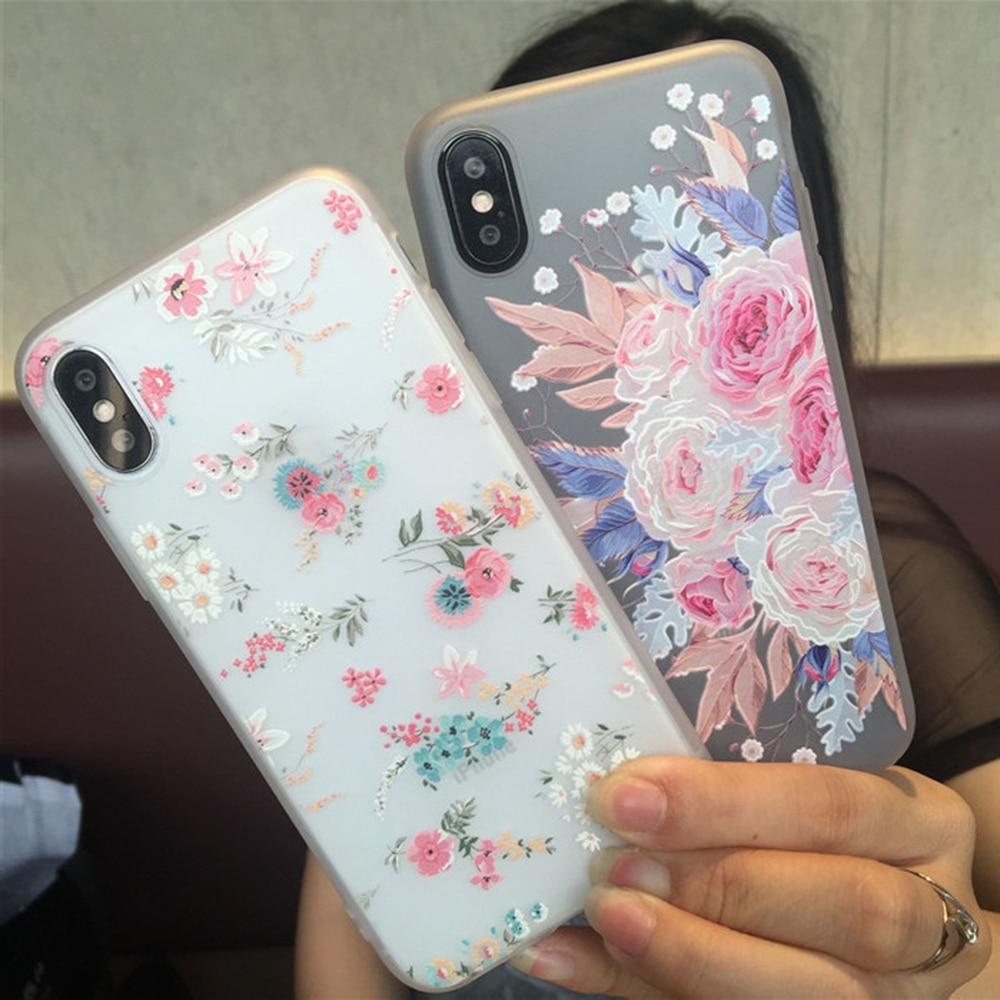 GL Caso Da Tampa telefone Elegante Em Relevo Floral Flores Caso Capa Protetora Acess oacute Telefone