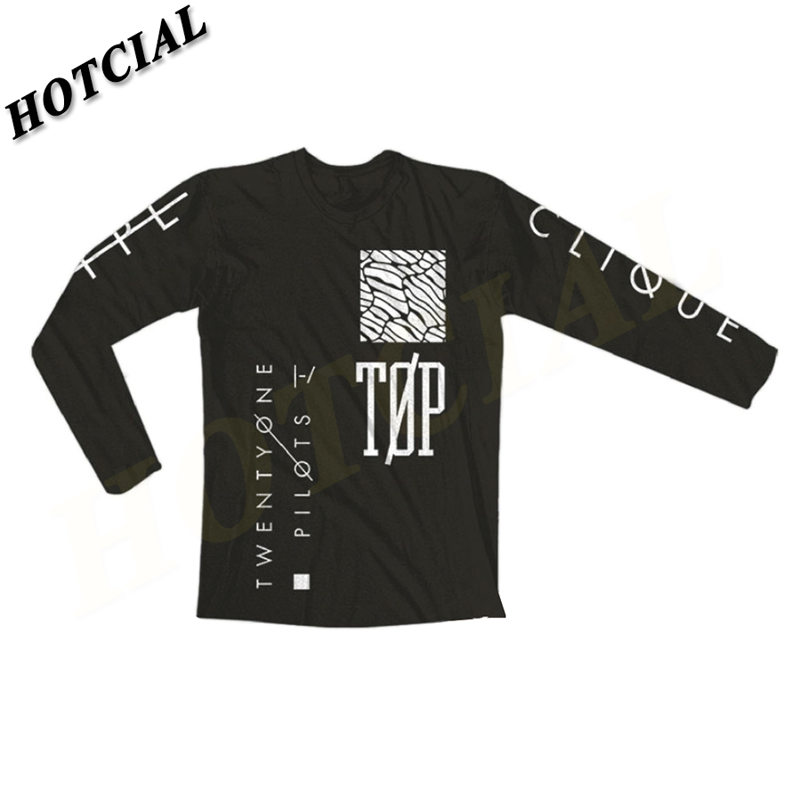 Shirt design for man 2016 - 2016 New Twenty One Pilots Print T Shirts Men Long Sleeve Brand Design Summer Male Tops