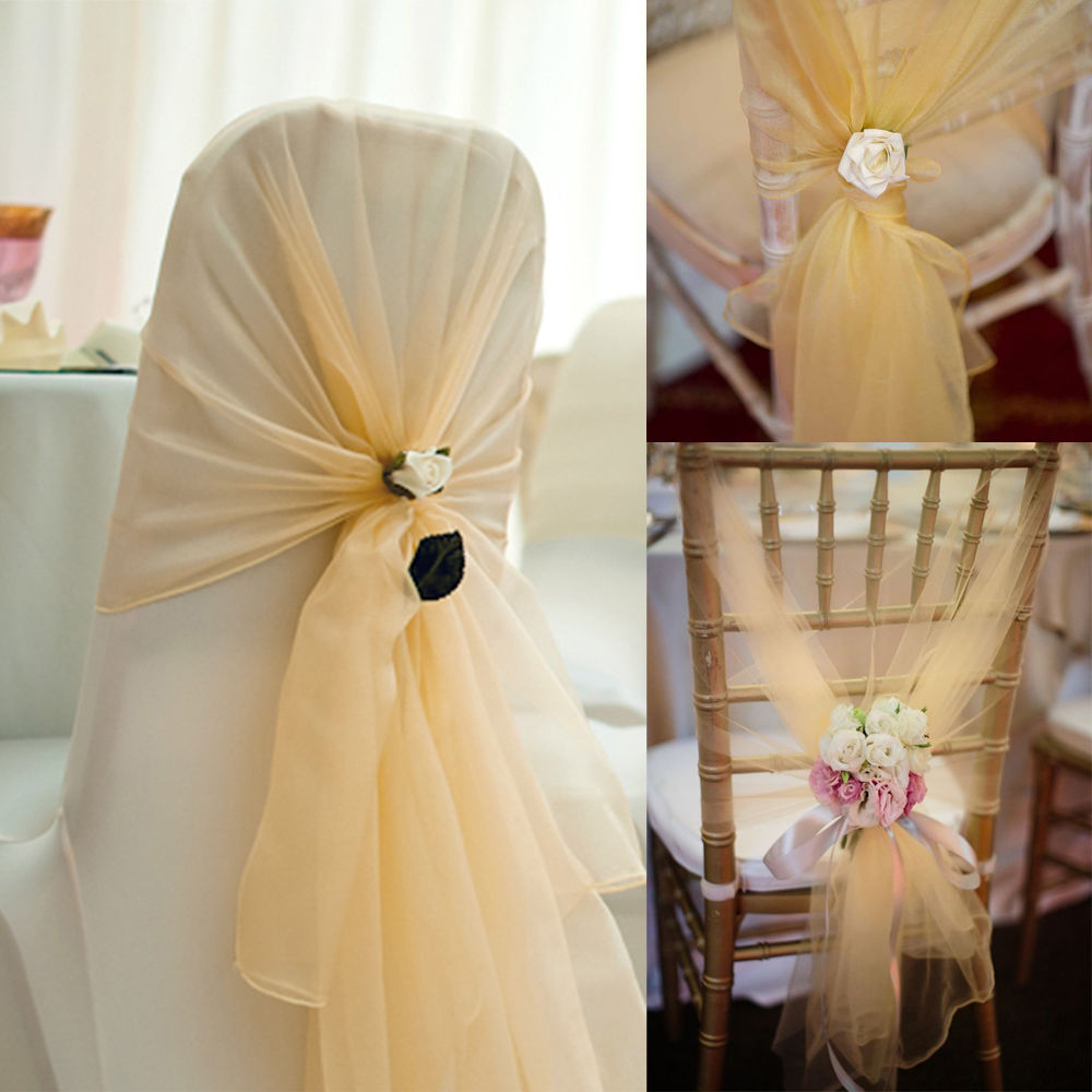 Wholesale 100pcs pack 65x275cm Champagne Chair Cover Hood Fashion Chair Wrap Tie Back Sash bows Wedding