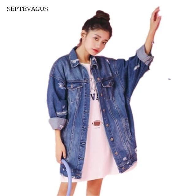 f7e7025b8 Women Oversize Cowboy Long Jean Jacket Ladies Denim Windbreaker 2018 ladies'  Spring Autumn Female New Fashion Jackets Coats