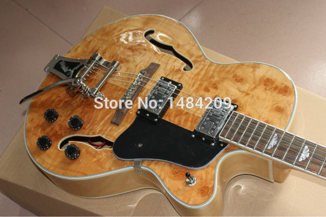 Cheap 2012 new arrival + Wholesale+Free Shipping+New built + natual color AAAA burl flame on boyd top Electric Guitar, do OEM service