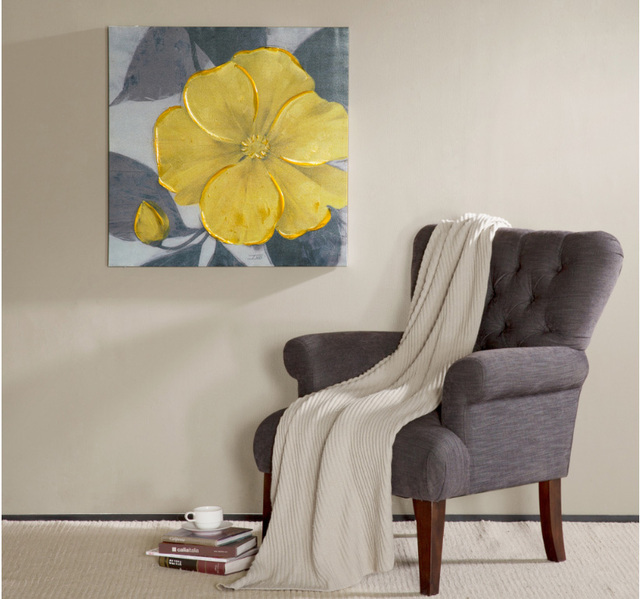 Yellow flower mural american style decorative painting wall art spray paintings painted on canvas unframed