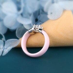 Женское керамическое кольцо с фианитом, черное, белое, гладкое золотое, металлическое, обручальное кольцо, 6 мм