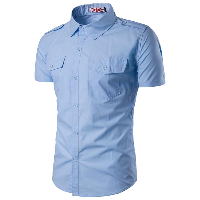 Summer korean casual slim solid color male short sleeve for Solid color short sleeve dress shirts