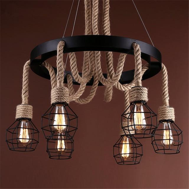 Vintage Pendant Lights Rope Edison Bulb Lamp Modern Fixtures Lighting Led Iron Pipe Antique Light Spider Loft Lamps