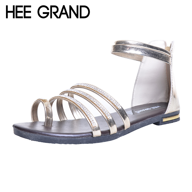 HEE GRAND Women Sandals Crystal Bling Gladiator Flip Flops Summer Casual Shoes For Woman XWZ3742 hee grand summer glitter gladiator sandals 2017 casual wedges bling platform shoes woman sexy high heels beach creepers xwx5813