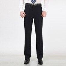 2015 новый мужчины прямые брюки для весны и осени не плиссированные темно-синий формальный деловой костюм брюки(China (Mainland))