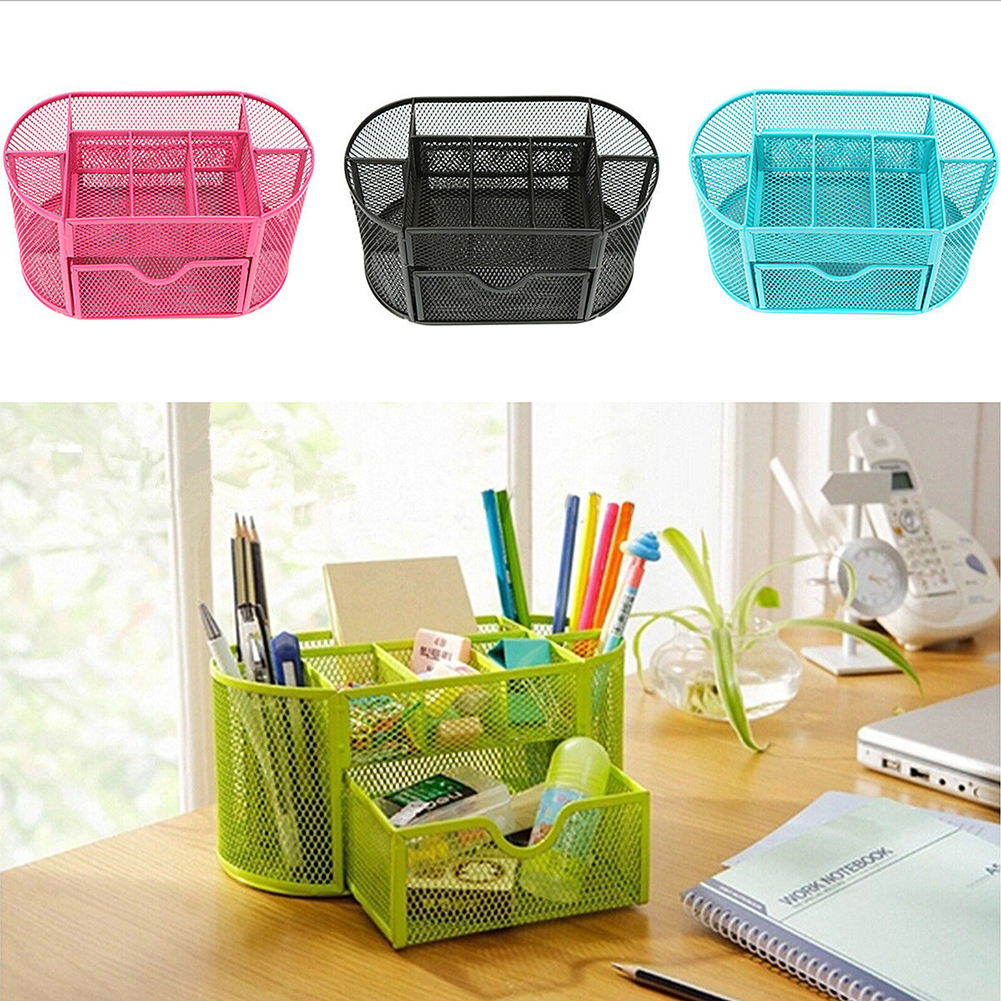 Metal Penalty Organizer Mesh Desk Organizer Table 9 Cell Jewelry Storage Box Drawer Pencil Pen Holder For Neatening Tools