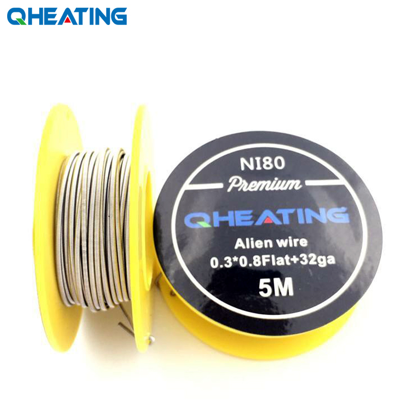 Qheating 5m/roll Premium NI80 Flat Alien Wire Clapton Wire For RDA RBA Rebuildable Atomizer Heating Wires Coil