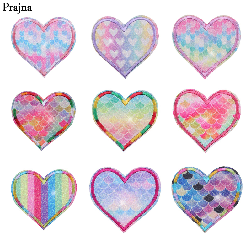 Prajna Rainbow Heart Iron Patches For Clothing Shine Iron On Patch Logo Jeans DIY Accessories Hippie Stickers On T-shirt DIY Bag
