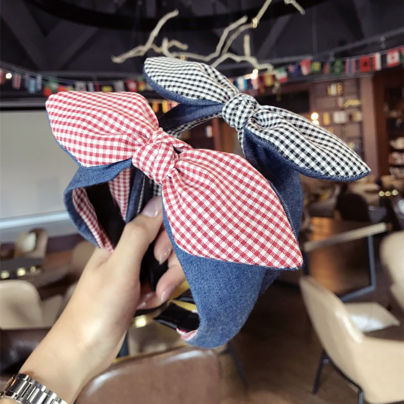 Korea Color Matching Denim Fabric Plaid Hair Accessories For Girls Top Knot Cross Band Bow Headbands Women