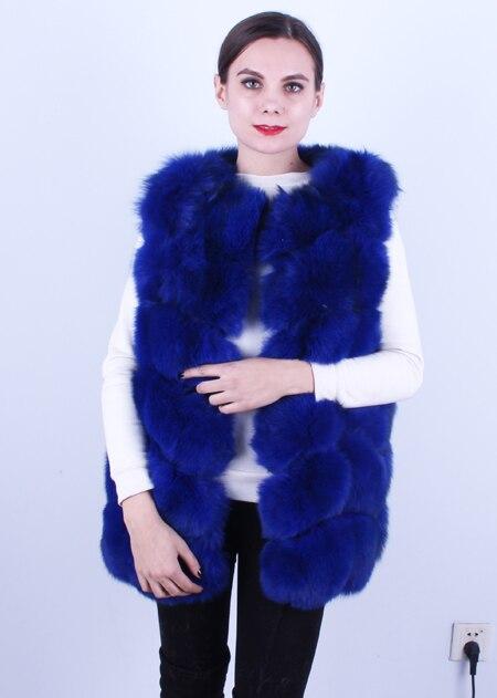 Linhaoshengyue 73 см длинные Высокое качество меха лисы Жилет натуральным лисьим мехом женские жилет - Цвет: blue