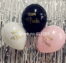 12pcs/lot Team Bride balloon Hens Party black white pink balloons with golden glitter writting Wedding Balloons(China)
