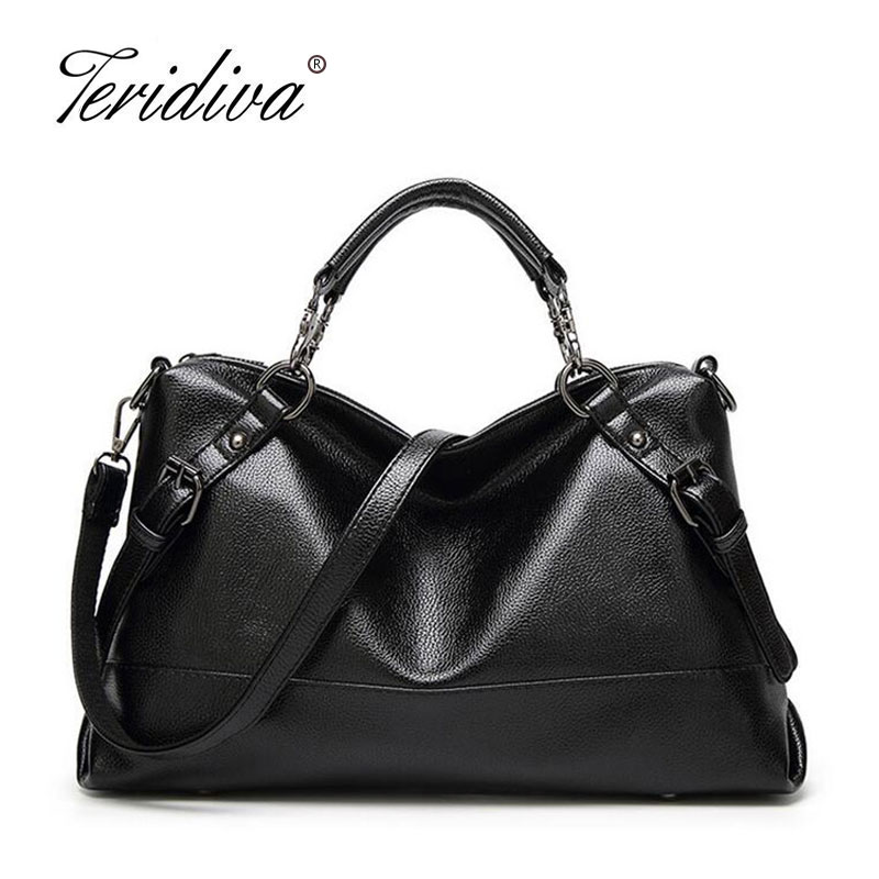 Teridiva High Quality Women PU Leather Handbags Belt Shoulder Bags Ladies Women Messenger Bag Female Tote Bag Casual Handbag vintage handbag women casual tote bag female large shoulder messenger bags high quality pu leather handbag with fur ball bolsa