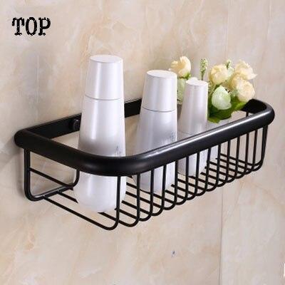 Gentil Antique Brass Whole Black Bathroom Shelf Square Blasket Shelf For Bathroom  Single Tier Bathroom Rack