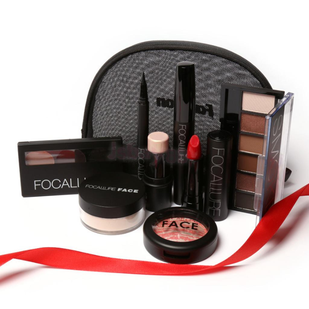 8pcs Face Eye Lip Foundation Makeup Kit Eyeshadow Palette Mascara Black Eyeliner Powder Highlighter Glowing Blush Lipstick Set learnever makeup set eye shadow eyeliner liquid eyebrow pencil mascara powder cake foundation lipstick blush concealer maquiagem