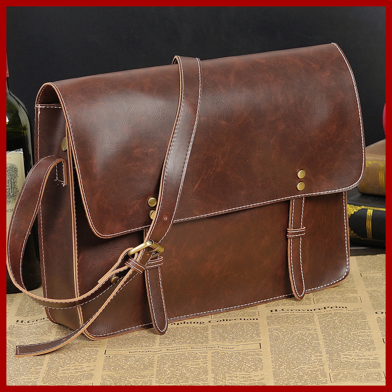 Фото Free shipping! Vintage Bag high-grade leather men messenger bags men