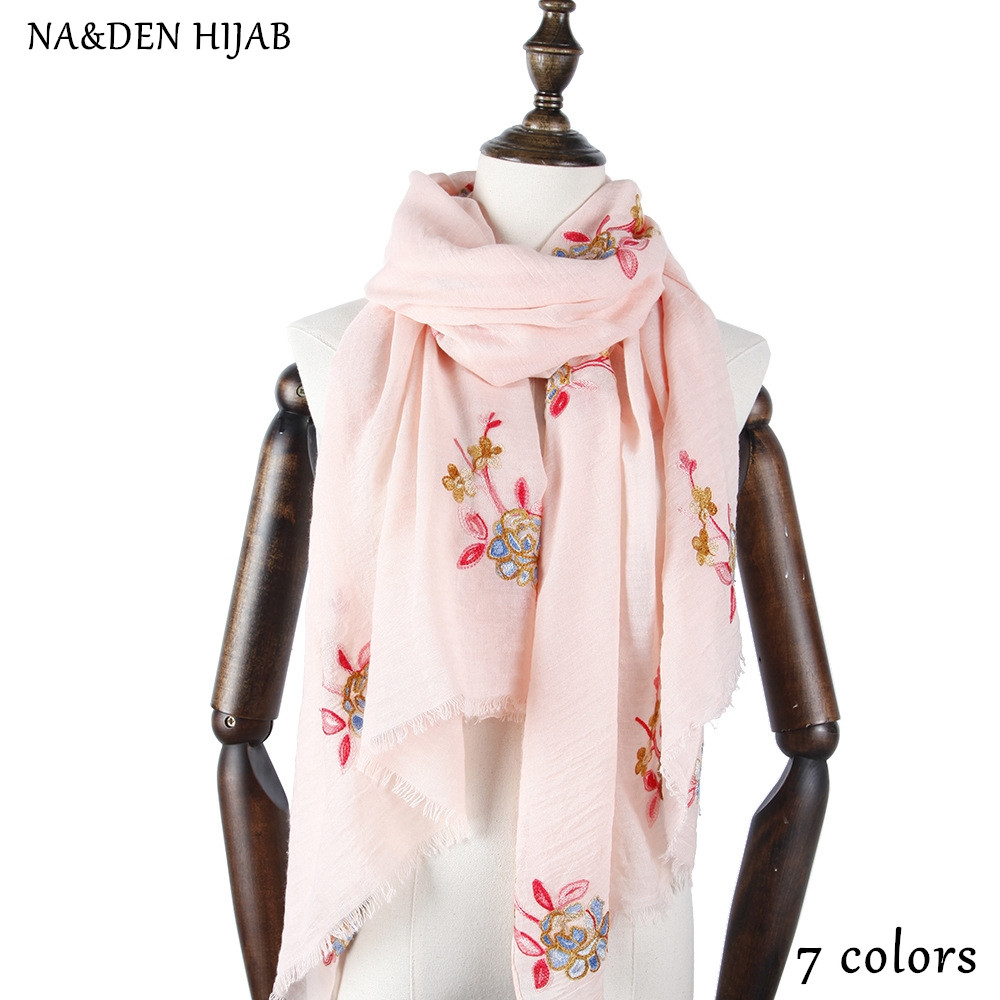 Women Fashion Embroidery Scarf Wrap Hijab Soft Paisley Flower Soft Scarves Pink