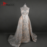 Hot Sell 2017 Gold Lace Shinny Arabic Evening Dresses With Detachable Trains Women Prom Gown High