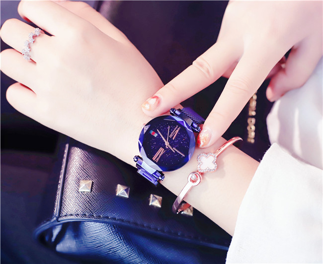 Luxury Rose Gold Women Watches Minimalism Starry sky Magnet Buckle Fashion Casual Female Wristwatch Waterproof Roman Numeral 13