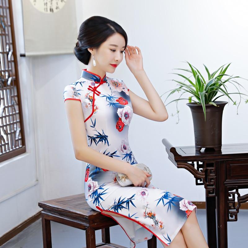 2018 Traditionnel Chinois Rayonne À style Mince Courtes Genou D'été Robes Style Partie 3 1 Femmes Cheongsam Qipao style Manches Robe Longueur 2 rwqgtrC