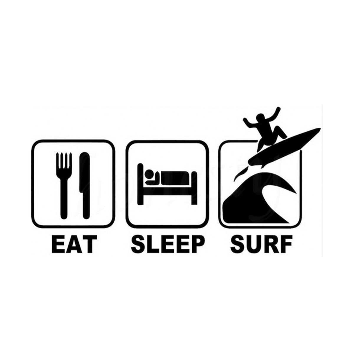 Funny fashion eat sleep surf car window truck wall home glass door jdm stickers vinyl decal decor gift black 18 0cmx8 8cm in car stickers from automobiles
