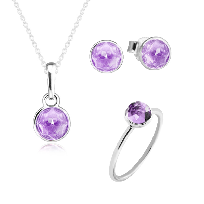 February Droplet Ring Necklace Earrings 100% 925 Sterling Silver Purple Cz Jewelry Set for Women Gift Fine Jewelry PFS5062February Droplet Ring Necklace Earrings 100% 925 Sterling Silver Purple Cz Jewelry Set for Women Gift Fine Jewelry PFS5062
