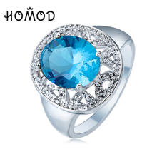 HOMOD Summer Style finger ring for lady paved cz zircon luxury hot Princess women Wedding Engagement Ring blue red color jewelry