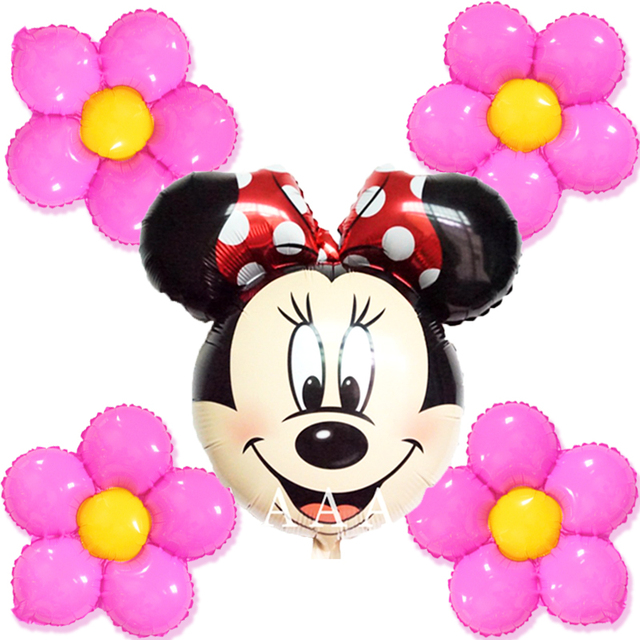 Mixed 5pcs Birthday Balloons Red Minnie Head Foil With Flowers For Girl Happy Party Decoration
