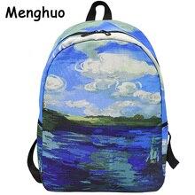Menghuo Brand 2017 Daily Women Backpack for School Teenager Girls Boys Full Printed Nylon Travel Backpacks