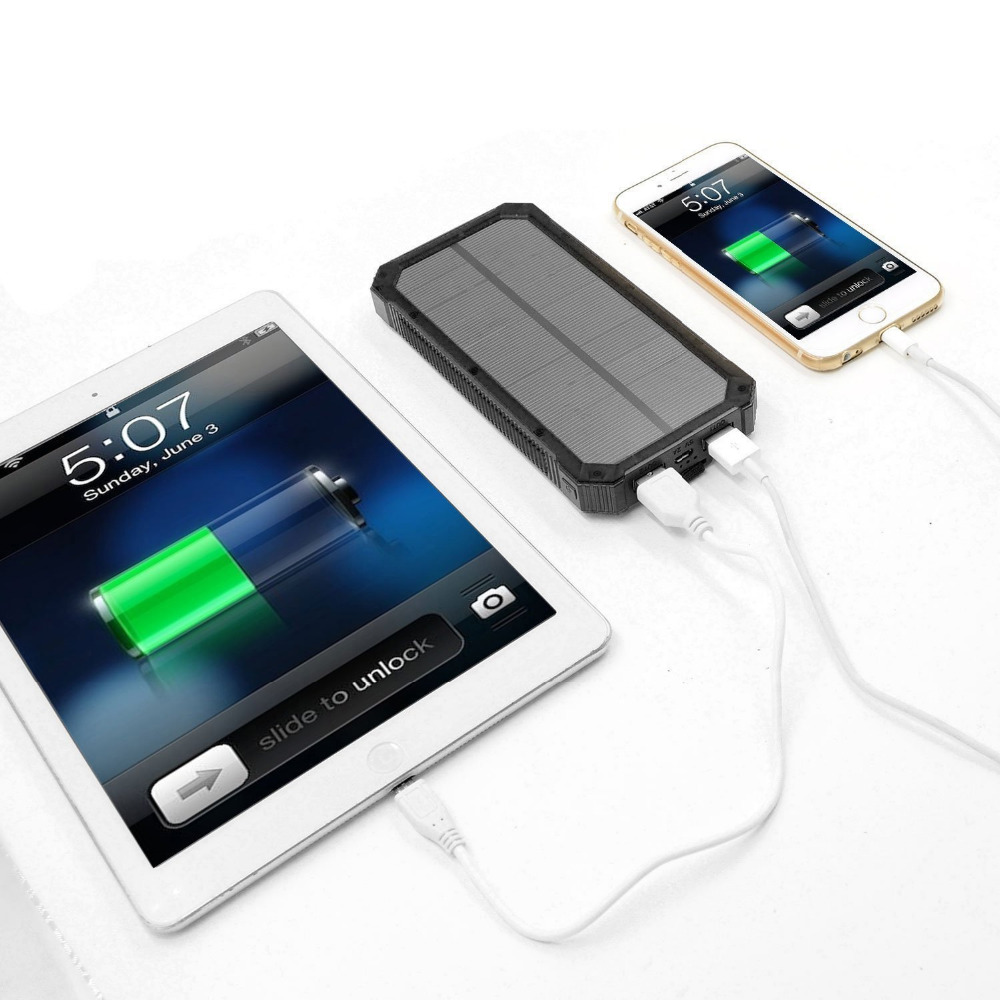PowerGreen Solar Powerbank Karabijnhaak Ontwerp Dual Port USB-oplader - Mobiele telefoon onderdelen en accessoires - Foto 4