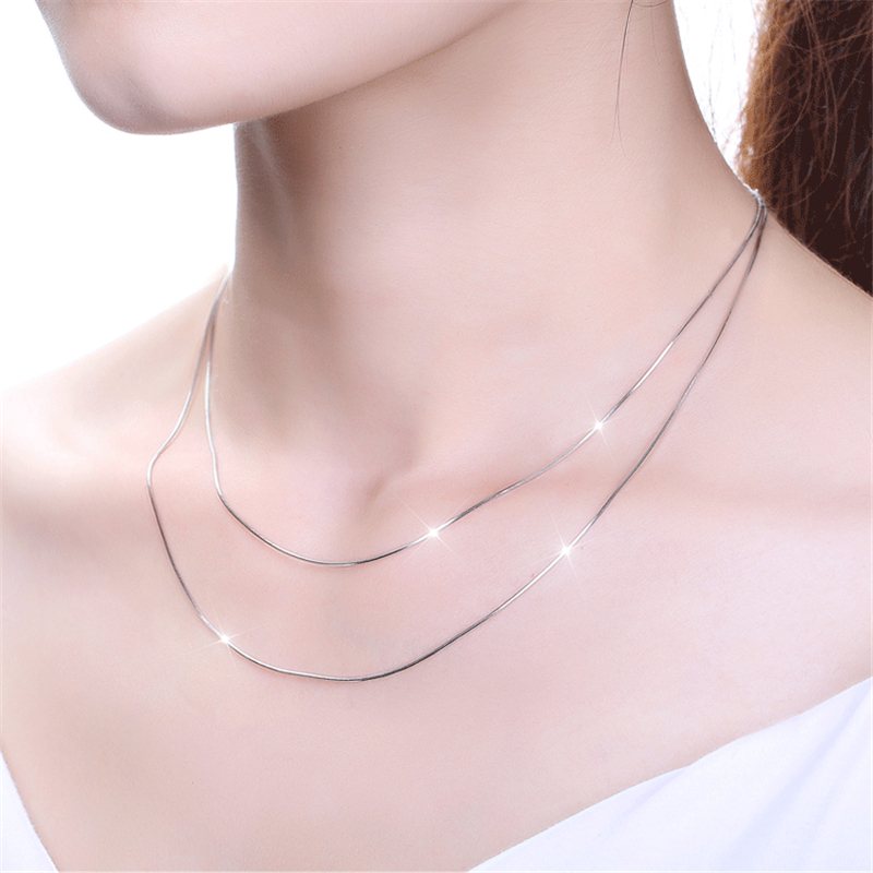 Image 3 - QYI 18K White Yellow Rose Gold Link Chain 16/18 inches Au750 Necklace Pendant Wendding Party Gift For Women-in Necklaces from Jewelry & Accessories