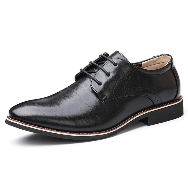 Men Oxfords Leather Shoes British Black Blue Shoes handmade comfortable formal dress men flats Lace-Up Bullock