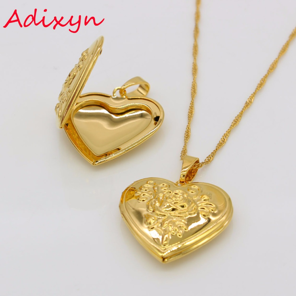 Pure Heart Love Charm Necklace Brass Locket Pendant Necklace Heart Locket