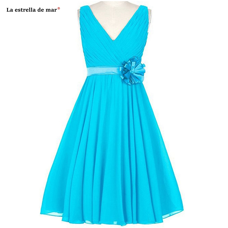 Wedding Guest Dress New Chiffon Sexy V Neck A Line Turquoise Pink Royal Blue Gold  Bridesmaid Dress Short Vestido Madrinha
